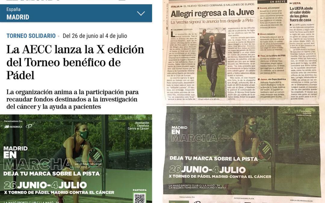 Los diarios 'El Mundo' y 'As' se hacen eco de los preparativos del X Torneo de Pádel Contra el Cáncer